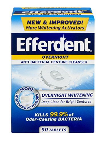 Efferdent PM Overnight Anti-Bacterial Denture Cleanser Tablets | 90 Count | Overnight Deep Cleans Dentures ()