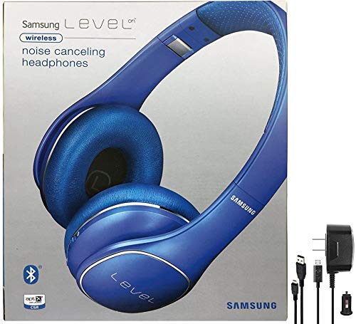 Samsung Level On Wireless Noise Canceling NFC Blue Headphones Universal Bluetooth - with Wall/Car Charger - (Refurbished) (Level On Headset)