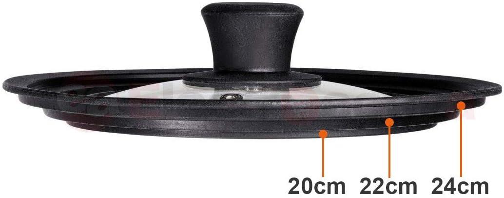 VITRINOR Magefesa Sartén con tapadera Cristal 24 cm, inducción vitroceramica, Antiadherente Libre Piedra de PFOA, Tapa multidiametro 20-22-24 cm: Amazon.es: Hogar