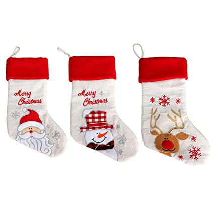 BESTOYARD Mini Calcetines para Navidad Bolsas Arpillera Decoracion Colgante para Fiesta de Navidad 3 Piezas