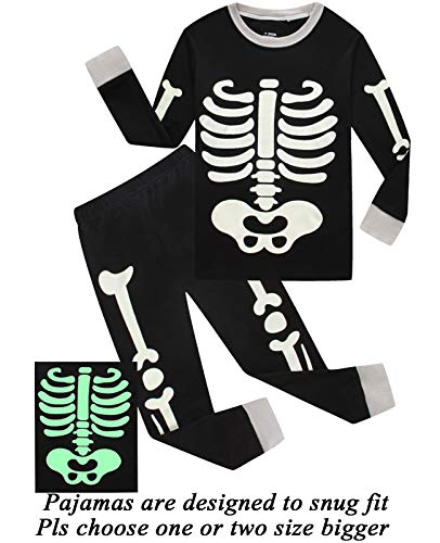 Boys Halloween Pajamas Skeleton-Glow-in-The-Dark Shirts Toddler Pjs Kids Clothes Sleepwear Size 3T