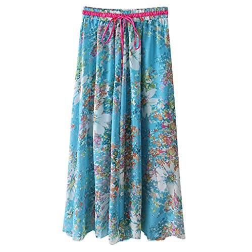 (WOCACHI Womens Boho High Waist Skirts Floral Print Casual Beach Maxi Long Skirt 2019 Summer Deals Fashion Ladies Sundress Polka Dot Bohemian Ankle Length Mini Vacation Beachwear)