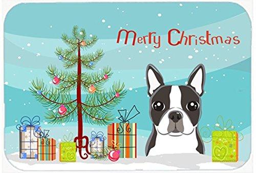 Caroline 's Treasures bb1575cmtクリスマスツリーとボストンテリアキッチンやバスマット、20 by 30インチ、マルチカラー   B018PU628U