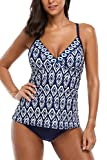 Sociala Two Piece Tankini Swimsuits for Women Navy Strappy Back Bathing Suits M