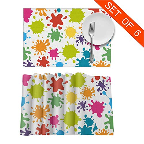 MPJTJGWZ Placemats for Dining Table Set of 6 Heat Resistant Paint Splats Kitchen Table Decoration Wipe Clean