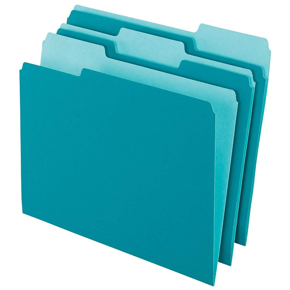 Office Depot Two-Tone Color File Folders, 1/3 Tab Cut, Letter Size, Teal, Box of 100, OD152 1/3 Tea by Office Depot