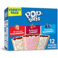 Kellogg's Pop-Tarts Variety Pack - Toaster Pastries for Kids, Frosted Strawberry, Frosted Blueberry, Frosted Cherry (12 Count)
