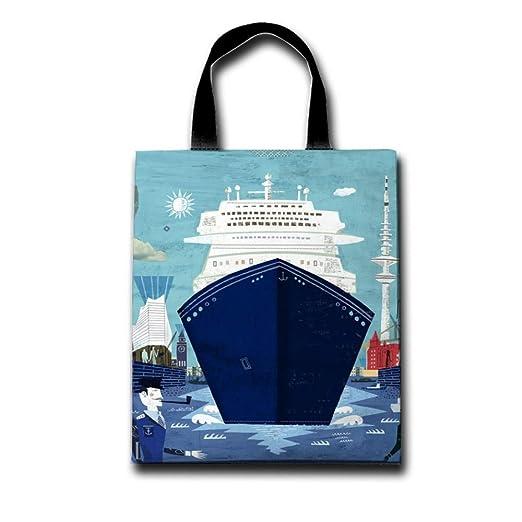 4dc68897448c Women Tote Bag Cruise Ship Captain Shopping Bag Reusable Canvas Bag  Shoulder Handbag White