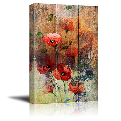 wall26 - Watercolor Poppy Flowers Over Wood Panels - Nature - Canvas Art Home Decor - 16x24 inches