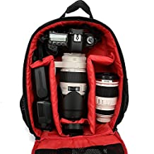 YUMQUA Waterproof DSLR Backpack Case Bag For Canon Nikon Sony Video Photo Camera Lens-Red