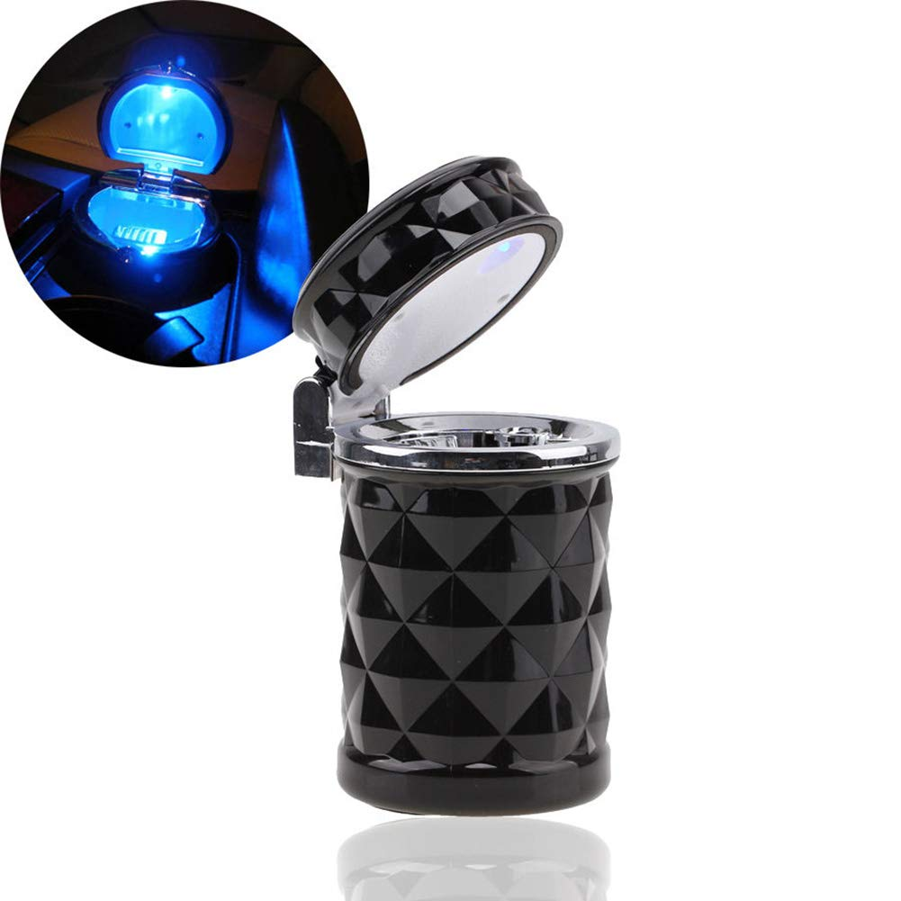 YMXLJJ Diamond Ashtray Portable Fashion Creative Ashtray High Temperature with LED Light Cigarette Smoke Office Home Car Travel Accessories,Black by YMXLJJ (Image #1)