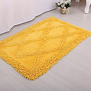 DYY Door mats cotton floor mats Diamond floor kitchens kitchen vacuum mats Machine wash baths non-slip water mattresses,yellow,6090cm