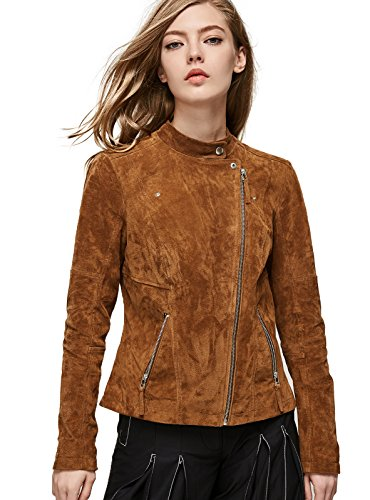 Escalier Women`s Genuine Leather Jacket Zipper Suede Moto Biker Coat Coffee S (Genuine Leather Jacket Coat)