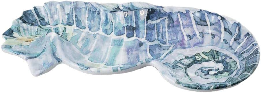 Blue Seahorse Melamine Candy Dish Nuts Dried Fruits 11.5 x 5.5