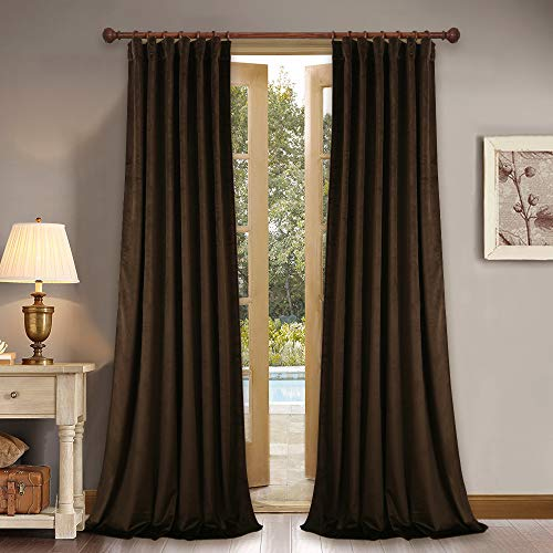 StangH Brown Velvet Soundproof Curtains - Soft Thick Blackout Velvet Drapes Heat Insualted Patio Door Blinds, Chestnut, 52 x 84 Inch Each Panel, 2 Pieces
