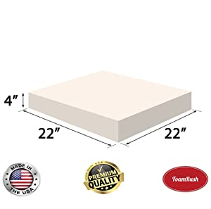 """FoamRush 4"""" x 22 x 22"""" Upholstery Foam High Density Firm Foam Soft Support (Chair Cushion Square Foam for Dinning Chairs, Wheelchair Seat Cushion Replacement)"""