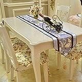 LAONA-European garden flowers table runner bed flag flag coffee table table cloth tablecloth TV cabinet lift turban,30*240cm,gray