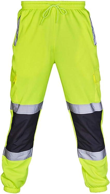Pantalones De Trabajo Reflectantes Comodos Monos De Hombre Pantalones De Jogging Planos De Alta Visibilidad Pantalones De Rayas Con Rayas Reflectantes Amazon Es Hogar