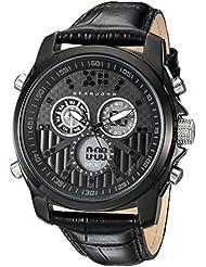 Sean John Mens Portofino Quartz Metal and Leather Dress Watch, Color:Black (Model: SJC0175002)