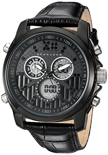 Sean John Men's Portofino Analog-Quartz Watch with Leather Strap, Black, 22 (Model: SJC0175002) ()