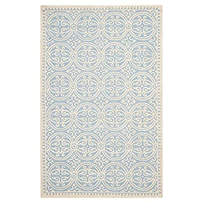 Safavieh Cambridge Collection CAM123A Handmade Light Blue and Ivory Wool Area Rug