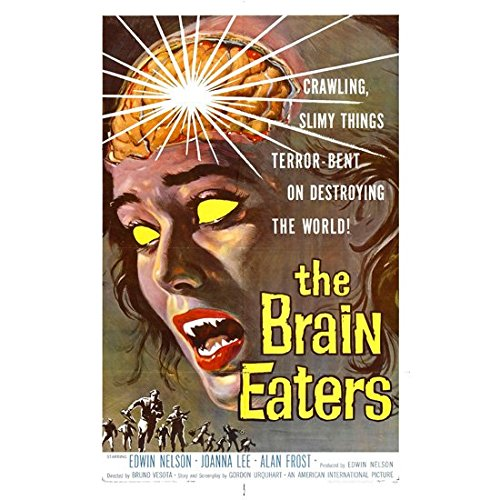 The Brain Eaters 11 Inch x 17 Inch Lithograph w/White Border Woman w/Exposed Brain -