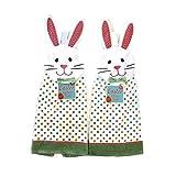 Nantucket Easter Bunny Rabbit Kitchen Towel 2 Pack