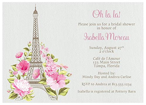 Eiffel Tower Bridal Shower Invitations Paris France Wedding Party Invites French Theme Tea Scones Flowers Floral Love Story (10 Count)