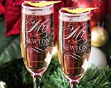 Mr and Mrs Champagne Wedding Glasses, Set of 2