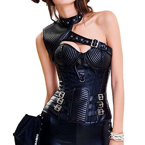 minifaceminigir Women's Halloween Vintage Steampunk Corset Set Shoulder Leather Strap Tops -