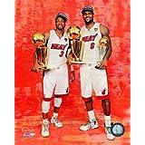 Lebron James & Dwyane Wade - holding 2012 NBA Championship & MVP Trophies NBA 8x10 Photo (Miami Heat)