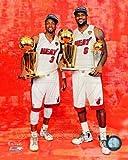 LeBron James Dwyane Wade NBA & MVP Trophies Miami Heat Photo