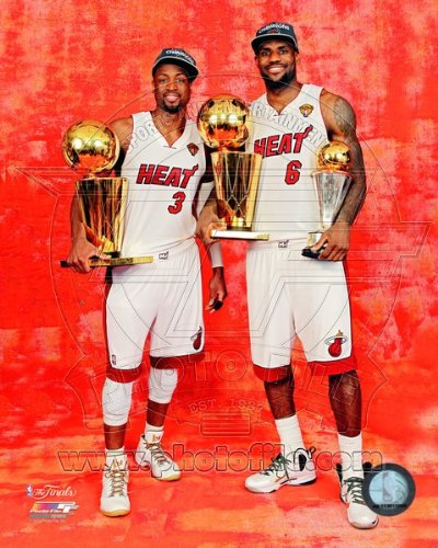 LeBron James Dwyane Wade NBA & MVP Trophies Miami Heat Photo ()