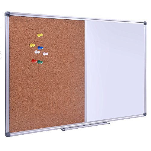 36 x 24 Inch Cork/Dry Erase Combo Board, Magnetic Presentation Whiteboard/Bulletin Combination Board Dry Erase Bulletin Board