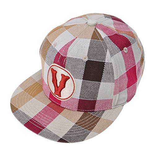 ZLYC Women's High Quality Cotton Plaid Embroidered Letter Snapback Baseball Adjustable Hat Cap, Red