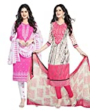 Ishin Combo of 2 Synthetic Multicolor Party Wear Wedding Wear Casyal Daily Wear Festive Wear Bollywood New Collection Latest Design Printed Unstitched Salwar Suit Dress Material (Anarkali/Patiyala) With Dupatta