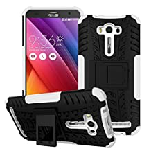 Asus Zenfone 2 Laser ZE551KL Case, SsHhUu Tough Heavy Duty Shock Proof Defender Cover Dual Layer Armor Combo Protective Hard Case Cover for Asus Zenfone 2 Laser ZE551KL (5.5 Inch) White