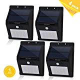 Aityvert Solar Light with Motion Sensor, 20 Bright LEDs Wireless Solar Powered Motion Sensor Light for Outdoor Wall Garden Lamp Patio Deck Yard Home Driveway Stairs With Auto On/Off (4pack, black)