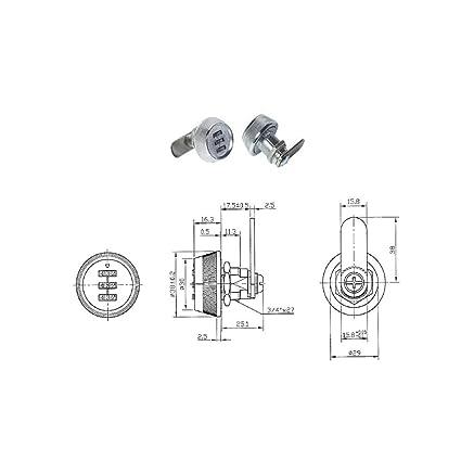 Cerradura de combinación 19 X 17.5 mm Para Buzón, taquilla, armario Buzón Candado,