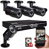 ZOSI 720P 8 Channel Video Surveillance DVR System with 4 Day & Night 720P AHD 1200TVL Security Camera 36 IR Leds 100ft night vision 1TB Hard Disk Pre-installed