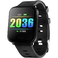 Redlemon Smartwatch Reloj Inteligente Sport con Monitor de Ritmo Cardiaco, Podómetro, Notificaciones de Mensajería y Redes, Pantalla Táctil, contra Agua, Compatible con iOS y Android, Modelo W10