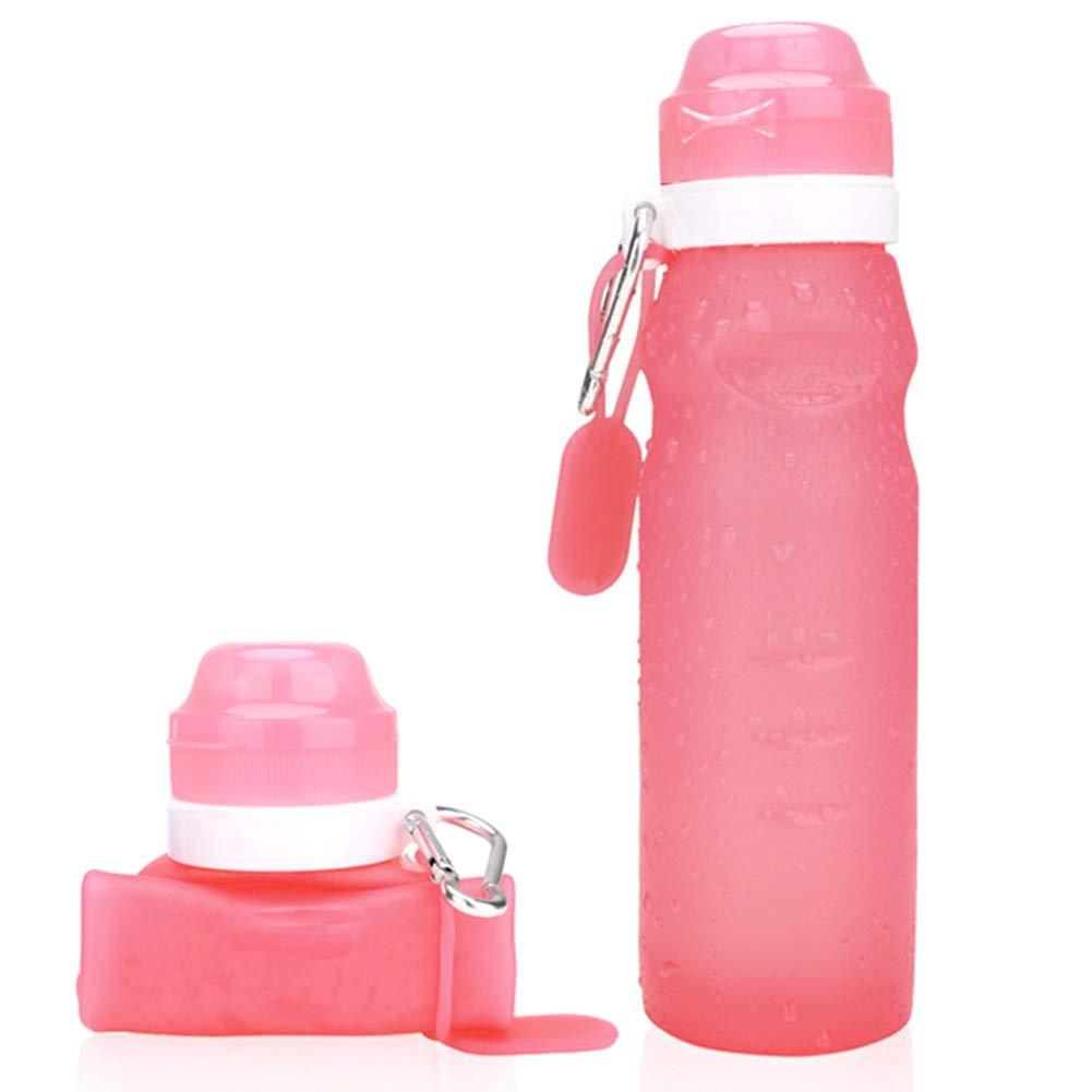 Delisouls Plegable Silicona Botellas de Agua Azul 600ML Gotera Prueba V/álvula Botella con Gancho Puede Enrollable Port/átil Exprimir Taza para Viaje Sports Exterior