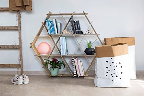 Wooden Bookcase, Living Room Furniture, Shelving Unit, Hexagonal Shelf, Honeycomb Shelves, DIY Furniture, Ruche Shelving Unit- Large size