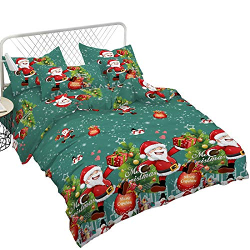 Junhome Christmas Bedding for Kids,Quilt Cover Queen,Green 3D Cartoon Santa Christmas Bags Tree Printed Bedding Set Christmas Decor -