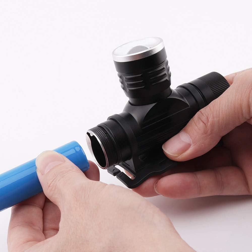weichuang Fuente de Luz Led Zoomable Linterna frontal 3 modos Faro USB Cargador 18650 Bater/ía Cabeza Antorcha Impermeable Camping Linterna