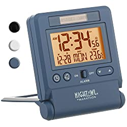 Marathon CL030036BL Atomic Travel Alarm Clock with Auto Night Light Feature in Blue, Batteries Included