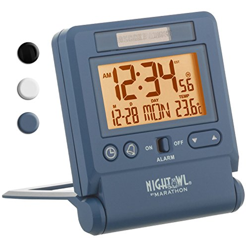 MARATHON CL030036BL Atomic Travel Alarm Clock with Auto Night Light Feature in Blue, Batteries Included (Clock Radio Travel Alarm)