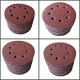 "SHINA 50pcs 5"" 8 Hole 80 Grit Mix Sanding Disc Random Orbit Sandpaper Velcro Sander"