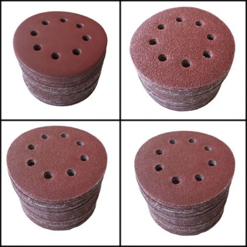 SHINA 50pcs 5″/125mm 8 Hole 80 Grit Mix Sanding Disc Random Orbit Sandpaper Sander For Sale