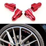 iJDMTOY (4) Rocket Shape Tuner Racing Style Red Aluminum Tire Valve Caps (Rocket Shape)